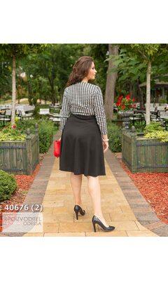 Платье ia-898 женское с V-образным вырезом принт гусиная лапка R-40676 черный