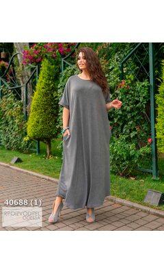Платье ig-7226 женское свободного кроя с карманами R-40688 серый