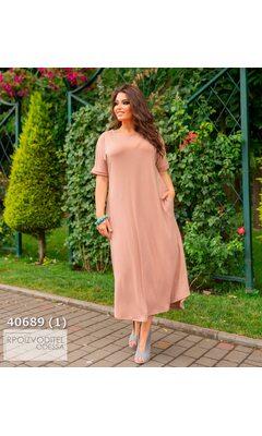 Платье ig-7226 женское свободного кроя с карманами R-40689 бежевый