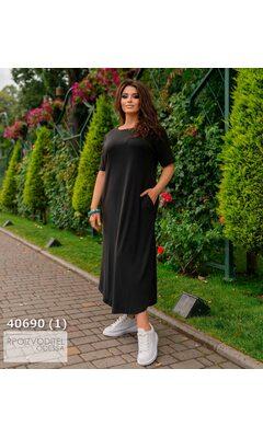Платье ig-7226 женское свободного кроя с карманами R-40690 черный
