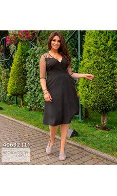 Платье ig-7085 женское с V-образным вырезом рукав сетка R-40692 черный