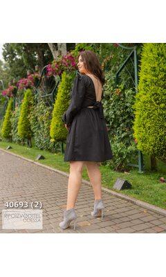 Платье s-1021 женское на спинке бант R-40693 черный