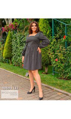 Платье s-1021 женское с принтом на спинке бант R-40694 черный