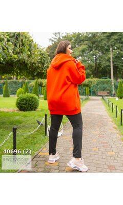 Худи s-1020 женское oversize с капюшоном на молнии R-40696 красный