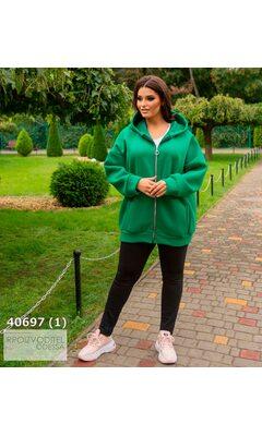 Худи s-1020 женское oversize с капюшоном на молнии R-40697 зеленый