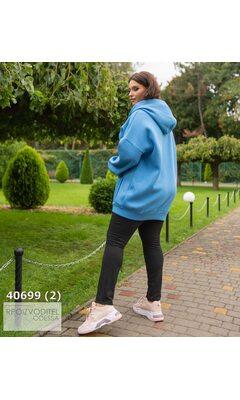 Худи s-1020 женское oversize с капюшоном на молнии R-40699 голубой