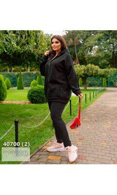 Худи s-1020 женское oversize с капюшоном на молнии R-40700 черный