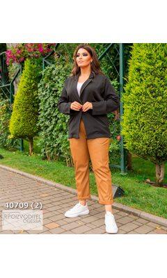 Пиджак s-1023 женские без подкладки однотонный R-40709 черный