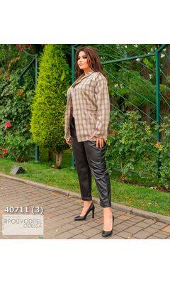 Пиджак s-1023 женские без подкладки принт клетка R-40711 бежевый