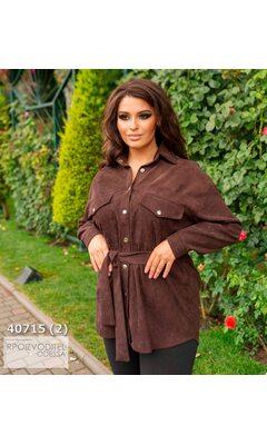 Рубашка y-1063 вельветовая с длинным рукавом R-40715 шоколад