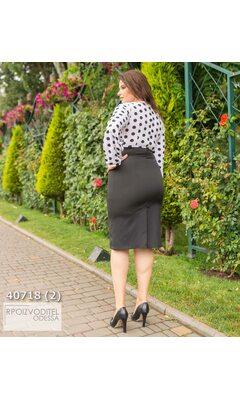 Платье g-838 женское комбинированное верх принт горох R-40718 черный