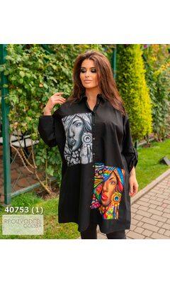 Платье-рубашка женское с принтом R-40753 черный